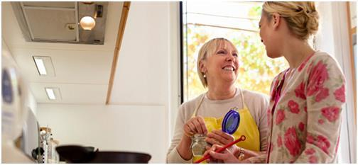 Мама помогает дочери на кухне
