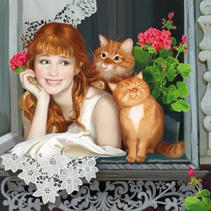 Рыжие кот и девушка