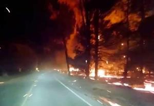 Дорога через горящий лес